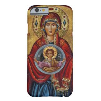 Maria del siglo XV icónica con el niño de Cristo Funda De iPhone 6 Slim