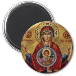Maria del siglo XV icónica con el niño de Cristo Imán