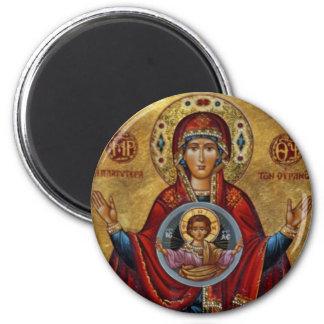 Maria del siglo XV icónica con el niño de Cristo Imán Redondo 5 Cm