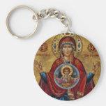 Maria del siglo XV icónica con el niño de Cristo Llaveros