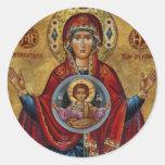 Maria del siglo XV icónica con el niño de Cristo Pegatina