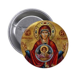 Maria del siglo XV icónica con el niño de Cristo Pin Redondo 5 Cm