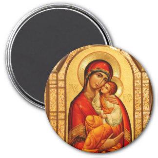 Maria el Dios-Portador Imán Redondo 7 Cm