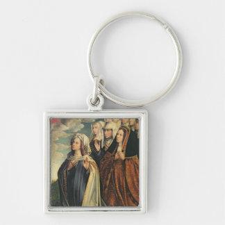 Maria el mediador con Juana el enojado Llavero Cuadrado Plateado