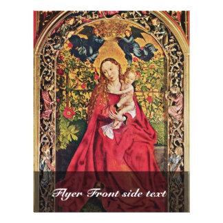 """Maria en la arboleda color de rosa de Schongauer M Folleto 8.5"""" X 11"""""""
