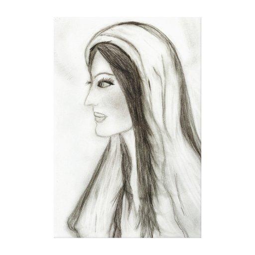 Maria en perfil impresion en lona
