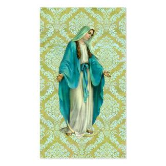 Maria en un modelo verde y azul del vintage del tarjeta de visita