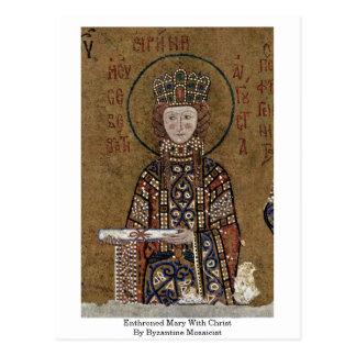 Maria Enthroned con Cristo del fabricante de mosai Postal