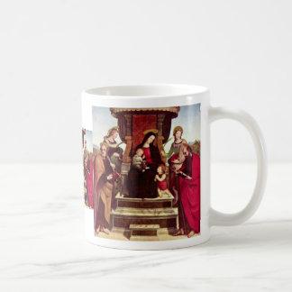 Maria Enthroned con el niño St. John de Cristo el  Tazas De Café