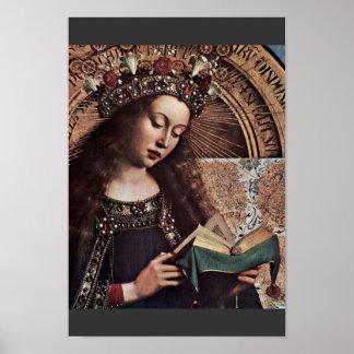 Maria Enthroned el detalle de Eyck Huberto Van (el Póster