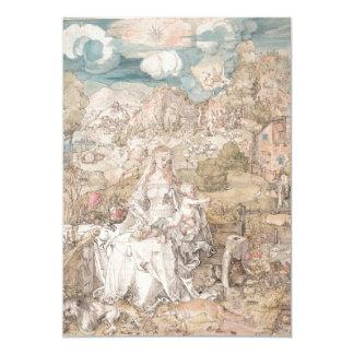 Maria entre una multitud de animales por Durer Invitación 12,7 X 17,8 Cm
