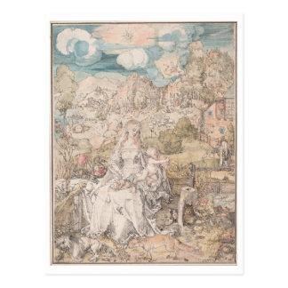 Maria entre una multitud de animales por Durer Tarjetas Postales