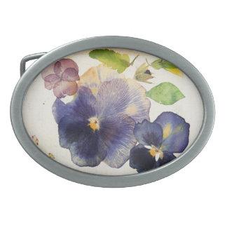 Maria Flowers Oval Belt Buckle