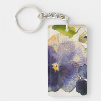 Maria Flowers Rectangle (double-sided) Keychain