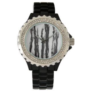 Maria Flowers Rhinestone Black Enamel Wrist Watch