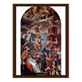 Maria Gloria con el arcángel Gabriel y St. Eusebi Tarjeta Postal