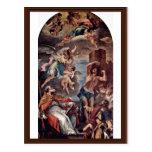 Maria Gloria With Archangel Gabriel And St. Eusebi Postcards