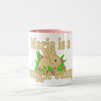 Maria is a Snuggle Bunny Two-Tone Coffee Mug