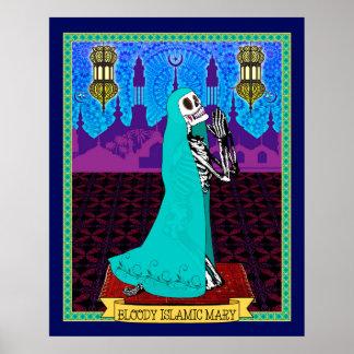 Maria islámica sangrienta (lona) póster