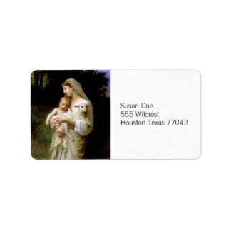 Maria, Jesús, y una etiqueta del cordero Etiqueta De Dirección