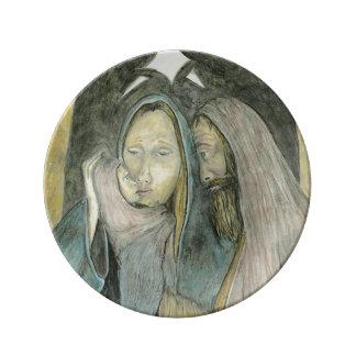 Maria José y navidad religioso de Jesús del bebé Platos De Cerámica
