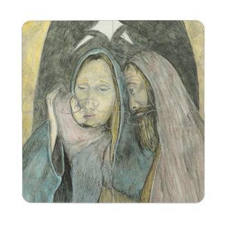 Maria José y navidad religioso de Jesús del bebé Posavasos De Puzzle