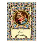 Maria Madonna y el niño - el cumpleaños de Jesús Postal