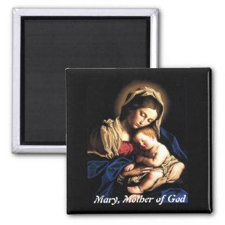 Maria, madre de dios imán cuadrado