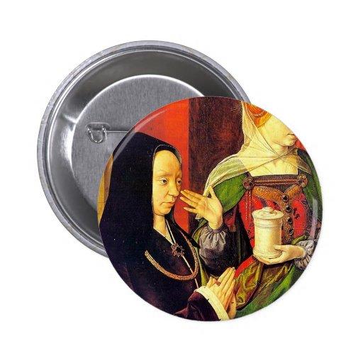 Maria Magdalen y donante de Meister Von Moulins ( Pin Redondo 5 Cm