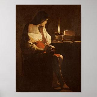 Maria Magdalena con una luz de la noche, 1630-35 Impresiones