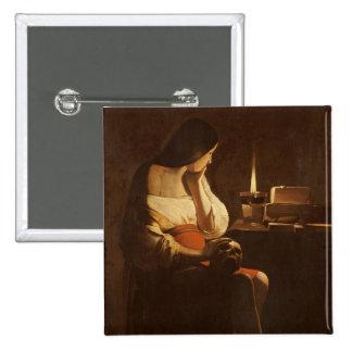 Maria Magdalena con una luz de la noche, 1630-35 Pin Cuadrada 5 Cm