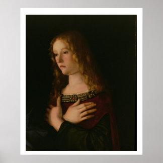 Maria Magdalena, detalle de la Virgen y del niño w Poster