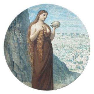 Maria Magdalena en el desierto de Puvis de Chavann Platos Para Fiestas