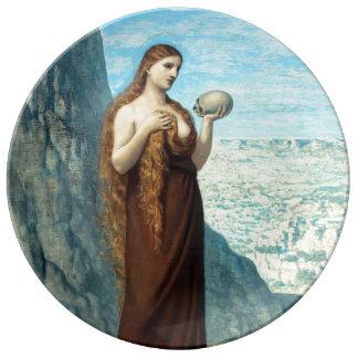 Maria Magdalena en el desierto de Puvis de Plato De Cerámica
