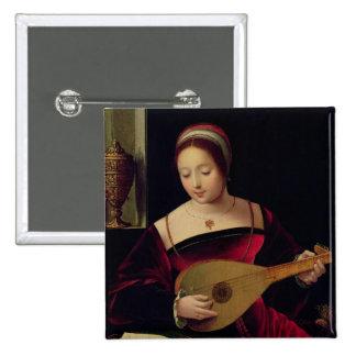 Maria Magdalena que toca el laúd Pin Cuadrada 5 Cm