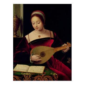 Maria Magdalena que toca el laúd Postal