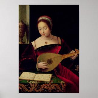 Maria Magdalena que toca el laúd Póster
