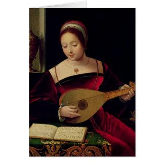 Maria Magdalena que toca el laúd Tarjeta De Felicitación