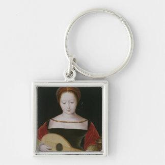 Maria Magdalena que toca un laúd Llavero Cuadrado Plateado