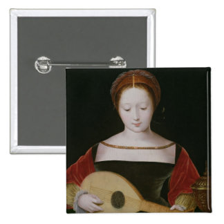 Maria Magdalena que toca un laúd Pin Cuadrada 5 Cm