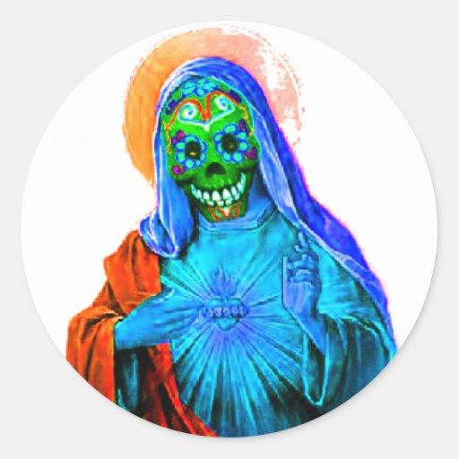 Maria muerta etiqueta redonda