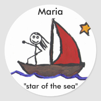 Maria name meaning classic round sticker
