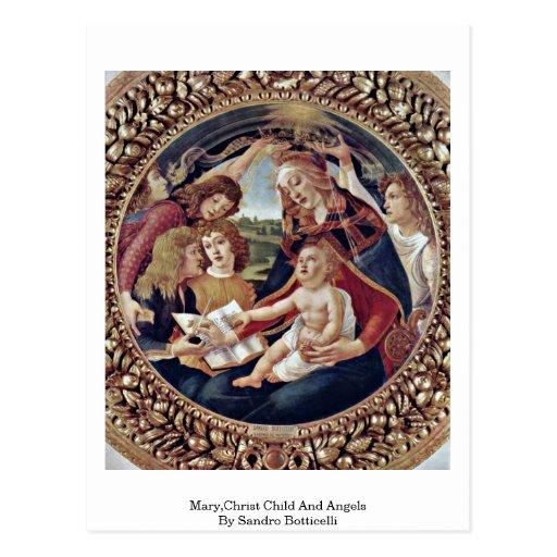 Maria, niño de Cristo y ángeles de Sandro Botticel Tarjeta Postal