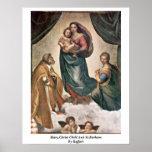 Maria, niño de Cristo y St.Barbara de Raffael Poster