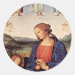 Maria que adora al niño con el arcángel Gabriel Pegatina Redonda
