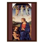 Maria que adora al niño con el arcángel Gabriel Tarjetas Postales