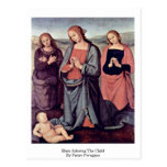 Maria que adora al niño de Pedro Perugino Tarjetas Postales