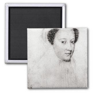 Maria, reina de escocés en el luto blanco, 1560 imán cuadrado
