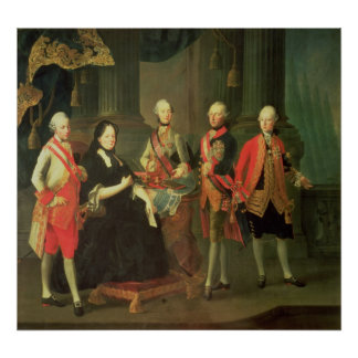 Maria Theresa of Austria  with four of her Poster