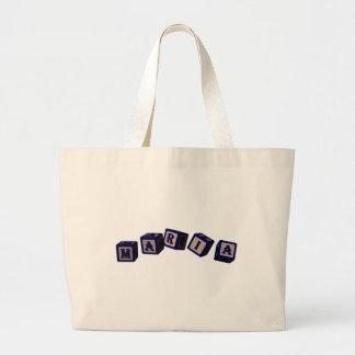 Maria toy blocks in blue bag